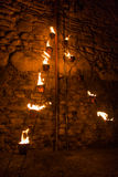 Singular sculpture of lights and fire at the festival of fire. Singular sculpture of lights and fire stock photography