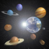 Singularity. The planets of our solar system emerging from an explosion Royalty Free Stock Images