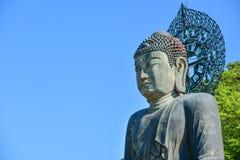 巨人在Sinheungsa寺庙,韩国的菩萨雕象 库存照片