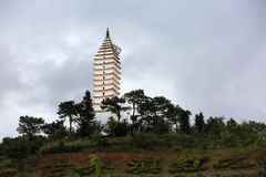 Sinicism tower. China   Yunnan  travel  entironment    nature   scenery   outlook art firmament cloud pagoda Stock Photography
