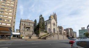 Sinimbu Street and Santa Teresa D`Avila Cathedral - Caxias do Sul, Rio Grande do Sul, Brazil. Sinimbu Street and Santa Teresa D`Avila Cathedral in Caxias do Sul Stock Photo