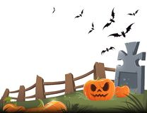 Sinister carved pumpkin with a grave, wooden fence and bats on a white background vector illustration