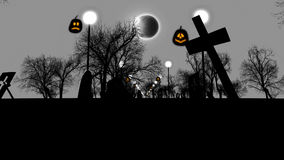 Sinister Graveyard with ruined tombs on Halloween Stock Image