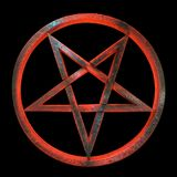 Sinister inverted occult pentagram. Inverted occult magical syimbol of pentagram or pentacle 3d rendered, made of rough volcanic-like glass glowing in sinister Stock Photos