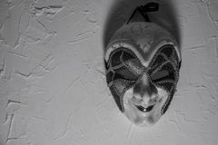 Sinister Joker mask. black and white Stock Image