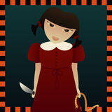 Sinister Sarah. Evil little Sarah with a rope and a knife... watch your neck or she'll take your life Vector Illustration