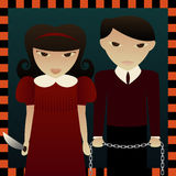 Sinister Siblings. One has a knife and one has a chain... both have a lust for torture and pain Stock Illustration