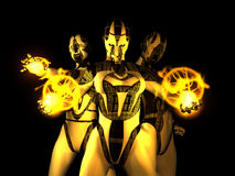 Sinister wijfje cyborgs stock illustratie