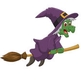 Sinister witch was riding broomstick on white background Stock Photo