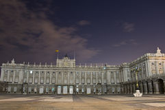 Sinistra del palazzo reale a Madrid Fotografia Stock