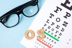 Sinistra för förkortningsOS-oculus i oftalmologi och optometry i latin, hjälpmedelvänstersidaöga Undersökning, behandling eller v royaltyfri bild