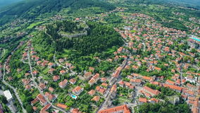 Sinj old town, aerial shot stock video footage
