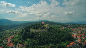 Sinj old town, aerial shot stock footage