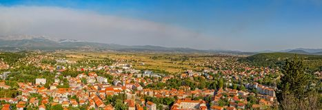 Sinj panoramic view. Panoramic view of small picturesque town Sinj in Croatia, Europe Stock Images