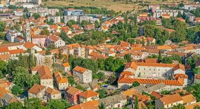 Sinj panoramic view. Panoramic view of small picturesque town Sinj in Croatia, Europe Stock Photography