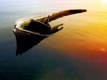 The sink boat. Sink boat nearly to Balchik-Bulgaria Royalty Free Stock Image
