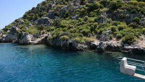 The sink city Kekova and yacht with tourists. Antalya, Turkey stock video