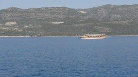 The sink city Kekova and yacht with tourists. Antalya, Turkey stock footage