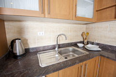 Sink and counter top in a kitchen Stock Photo