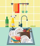 Sink with dirty dishes. Flat style illustration stock illustration