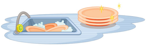 Sink and dish. Illustration of a sink with many dishes stock illustration