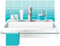 Sink, faucet and basic bath accessories: soap, toothbrushes, toothpaste. Vector design vector illustration