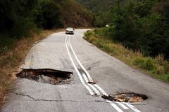 Sink Holes In Road Stock Images