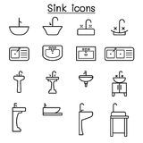 Sink icon set in thin line style. Vector illustration graphic design royalty free illustration