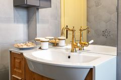 Sink with luxury pipe royalty free stock photography