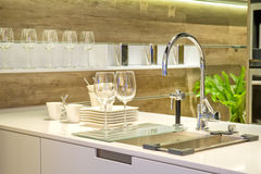 Sink in a modern built in ki Royalty Free Stock Photos