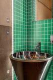 Sink in modern green bathroom Stock Image