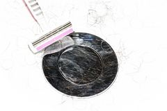 Sink after shave with razor hair cut stock photo