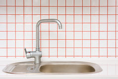 Sink with small ceramic tile Royalty Free Stock Photos