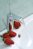 Sink and strawberries Royalty Free Stock Photos