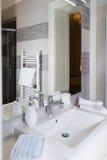 Sink, Tap, Towels and Bathroom Set. Modern Bathroom Interior Des Stock Photo