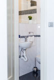 Sink, Tap, Towels and Bathroom Set. Modern Bathroom Interior Des Royalty Free Stock Photography