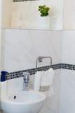 Sink, Tap, Towels and Bathroom Set. Modern Bathroom Interior Des Royalty Free Stock Photos