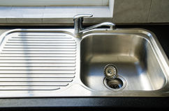 Sink. For wash dishes in kitchen Royalty Free Stock Photo