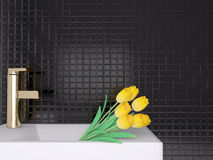 Sink and yellow flowers. Royalty Free Stock Image