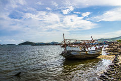 The sinked boat with fisherman village4 Stock Images