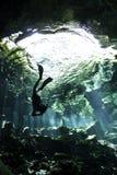 Sinkflug im cenote Stockfotos