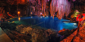 Sinkhole - cenote in Mexico Royalty Free Stock Photography
