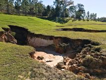Sinkhole In Florida Detention Pond. Sinkhole formed in detention pond in Florida after heavy rain event stock images