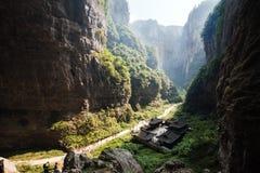 Sinkhole i wulong, chongqing, porslin arkivfoton