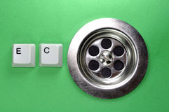 Sinkhole with keyboard buttons Royalty Free Stock Images