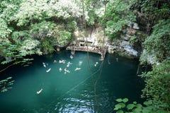 Sinkhole natural em Iucatão fotos de stock