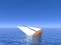 Sinking boat - 3D render Stock Photo