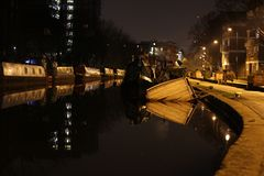 Sinking Boat at City Canal stock image
