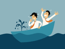 Sinking boat. Two businessman being panic because of sinking boat, abstract illustration business concept in bankruptcy vector illustration