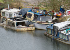 Sinking Boats. On Bridgewater Canal being left to rot away Royalty Free Stock Image